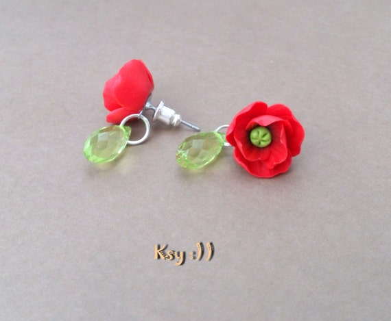 poppies stud earrings poppy earrings poppy earrings