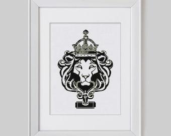 Modern cross stitch pattern, victorian door knocker counted cross stitch pattern, lion head modern cross stitch pattern