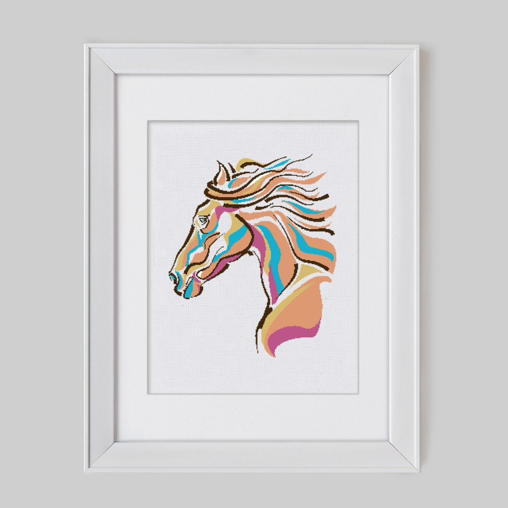 Modern cross stitch pattern horse counted