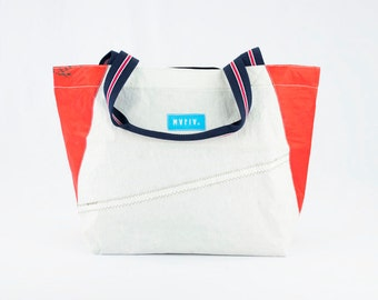 Sand Bag  - Reuse Recycle Sails Tote Bag White Red Urban Bag, Design , Outdoors, Water resistant, Made in USA, Unique, One of a Kind