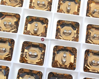 12 Lt. Colorado Topaz (16mm) Swarovski Crystal 3017 Square Button