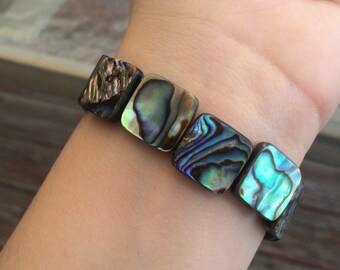 STRENGTH/SELF-LOVE // Natural Iridescent Abalone Shell Stretch Bracelet