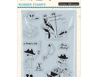 October Afternoon~Treasure Map Rubber Cling Stamps~Pirate's Life