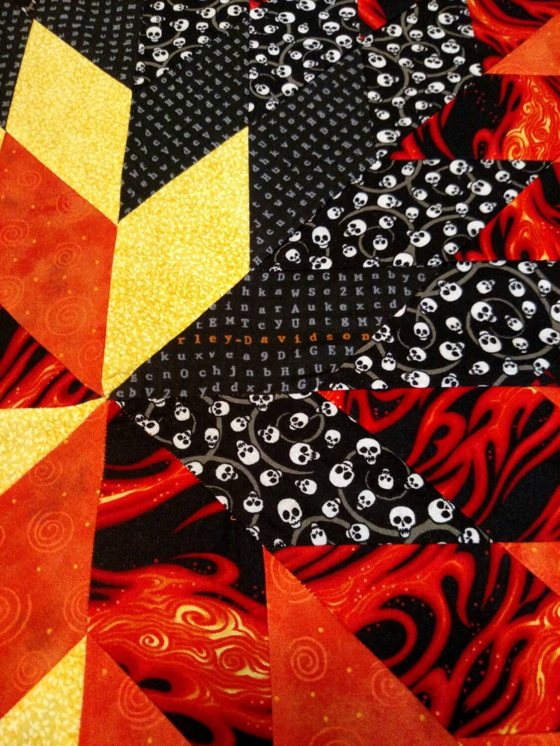 Harley Davidson Flaming Star Quilt With By