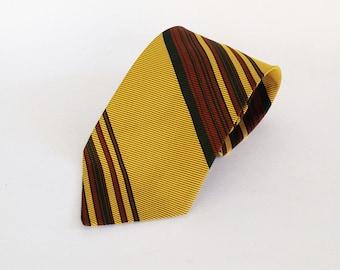 Wembley tie: Striped tie, yellow tie, wide 1960s awesome tie, unique tie, fun tie, cool tie