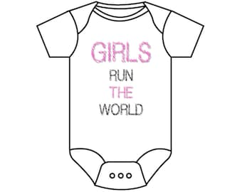Girls/Boys Run The World Printed Baby Onesies & Kids Tees