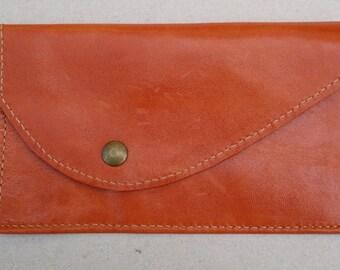 Pouch orange leather woman