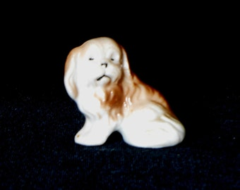 Spaniel Puppy Porcelain Figurine Hand Painted Made in Japan 1940s