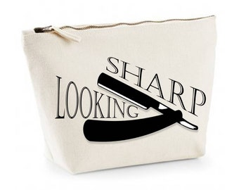Looking Sharp Statement Beard Kit Mens Canvas Wash Bag