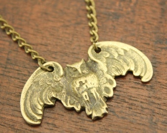 Daughter of Athena - Inspired Winged Owl in Antiqued silver Wisdom Christmas gifts N10A