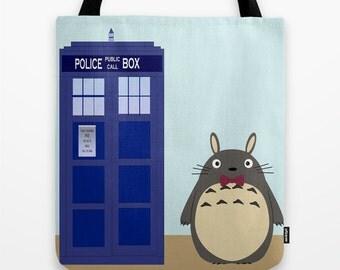 Totoro Tardis Bag / Totoro Tardis  Bag / Tardis Totoro Tote Bag