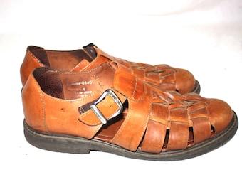 FLORSHEIM Huarache Mens brown leather fisherman sandals sz 9.5M