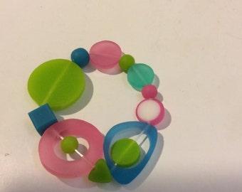 Pink blue green stretch resin bead bracelet