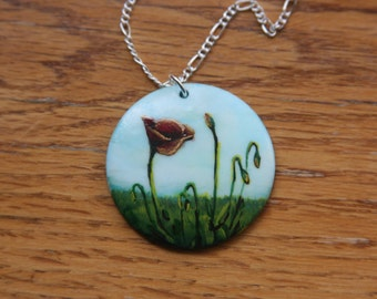 Hand Painted Poppy Necklace