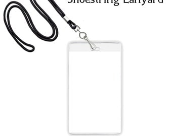 Shoestring Lanyard Necklaces For VIP Passes And Or Clear Badge Holder,  Choose Color, Clasp  Free Vip Pass Template