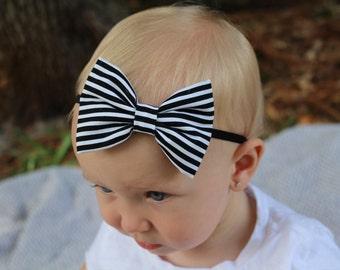 black and white stripe bow headband