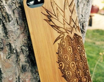 Genuine Wood Cell phone Case with Hand Drawn Pineapple Doodle Inspired Laser Engraving for iPhone 5/S, 6/S and 6 plus IP-008
