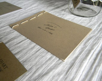 Rustic Wedding Program, Handmade, Boho, Unique, Twine, Kraft Paper