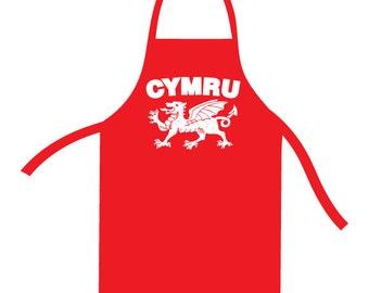 Cymru (Wales) Dragon Red Apron. Welsh Bib. Wales Apron. Wales Bib Gift