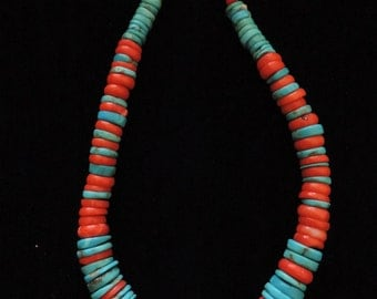 Disc Turquoise, dyed coral and sterling silver Necklace