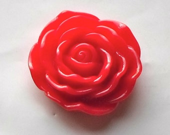 3 x Huge Flat Back Red Cabochon Resin Rose Flower Focal Beads 45mm- Crafts/Jewellery/Knitting