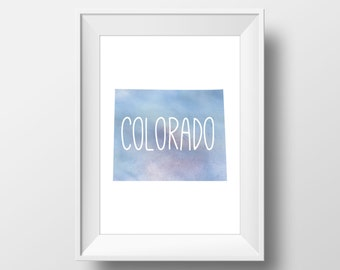 Colorado State Blue Watercolor Printable Art, Colorado Print, Colorado Art, Modern Art,