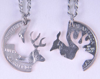 HS001-Buck and Doe set of couple jewelry pendant necklaces, interlocking quarter coin for love, friendship, wedding gift