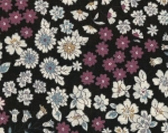 8 - Cheerleading - lightweight cotton Japanese fabric - sold by 10 cm (110 x 10 cm) - flower Collection - black