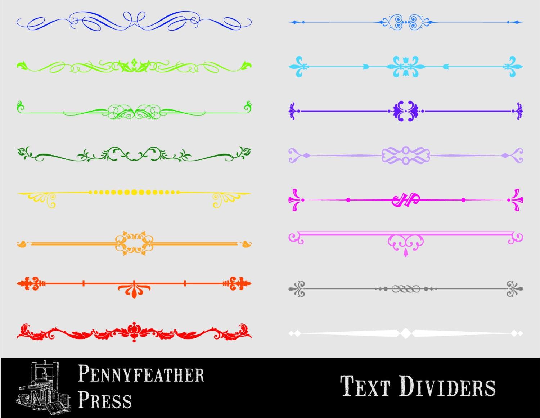 Multicolour Decorative Text Dividers Colour Set Clipart Text