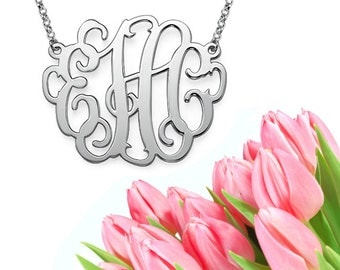Grande Monogram Necklace (silver) XL extra large