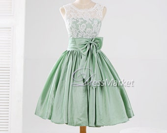 Knee length green taffeta white lace bowknot homecoming dress,Short green wedding party dress,Short lace prom dress,DressMarket037
