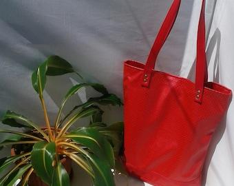 Big red bag, bag vegan leather, red tote, perforated vegan leather bag