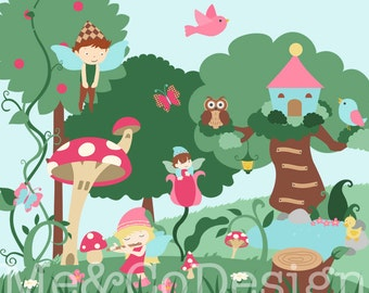 Whimsical Forest Clipart, Fun Cute Clipart, Girl and Boy, Mushroom Instant Download, Personal and Commercial Use Clipart, Digital Clip Art