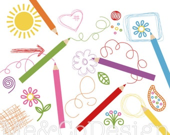 Scribble Pad Clipart, Fun Drawing Clipart, Scrapbooking Element Instant Download, Personal and Commercial Use Clipart, Digital Clip Art