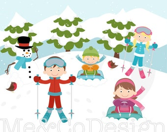 Ski Clipart, Fun Cute Clipart, Skiing Kids Boy and Girl Instant Download, Personal and Commercial Use Clipart, Digital Clip Art