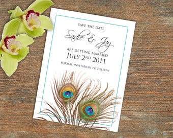 Save the Date Announcement,  Customizable Printable, Peacock Feathers
