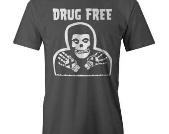 Drug Free Misfits Skeleton T-shirt Funny Fiend Skull