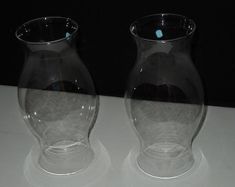 Set of 2 Vintage Glass Shades for Hurricane Candleholders - Mexico