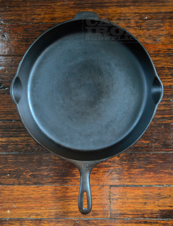 wagner ware 12 14 inch cast iron skillet unmarked antique. Black Bedroom Furniture Sets. Home Design Ideas