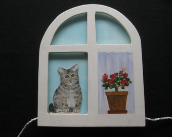 Cat in the window, moving wood gift for cat lovers