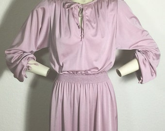 Blush Tone Vintage Mauve Dress by Jody of California, Women's SZ M-L