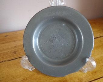 Small, Pretty, Vintage, Pewter Plate/Dish for the Coronation of King George VI, 1937, London Pewter Marks