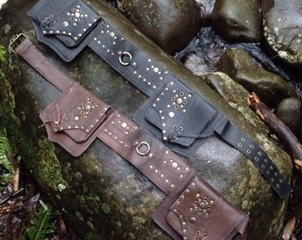 Black leather festival belt with studs and 4 pockets