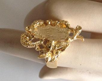 10 Vintage VOGUE Gold Toned Adjustable Ring Blanks, Ornate, Just add Stones