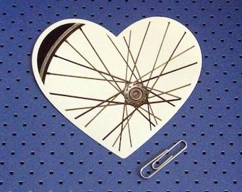I Love Biking Bumper Sticker - Bicycle Heart