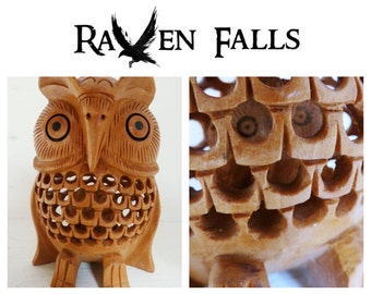 Beautiful Vintage Hand Carved Wooden Owl within an Owl