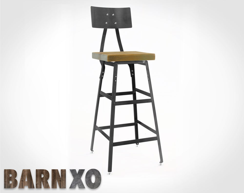 Industrial Urban Bar Stool W Back Rustic Chair Made By Barnxo