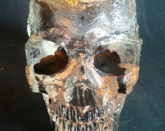 Clear Skull Candle Holder
