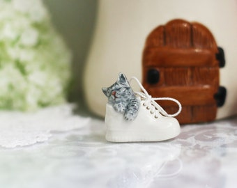 Tiny cat 's sleep in a shoe .
