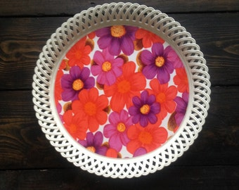 Rare Color - Purple and Red Brights Flowers Serving Tea Tray - Better Maid - Kitchenalia 1970 Retro Vintage. Dialene